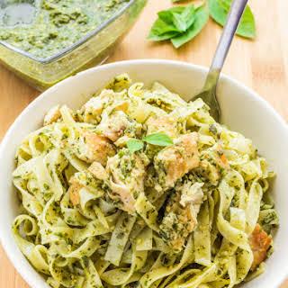 Chicken Pasta with Homemade Basil Pesto.