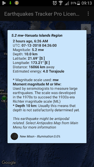 Earthquakes Tracker Pro screenshot for Android