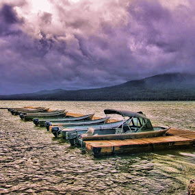 Pending Storm by Christy Sawyer - Landscapes Weather ( clouds, water, oregon, lake, storm )