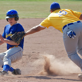You're Out! by John Crongeyer - Sports & Fitness Baseball ( sliding, baseball, sport, tagged, out )