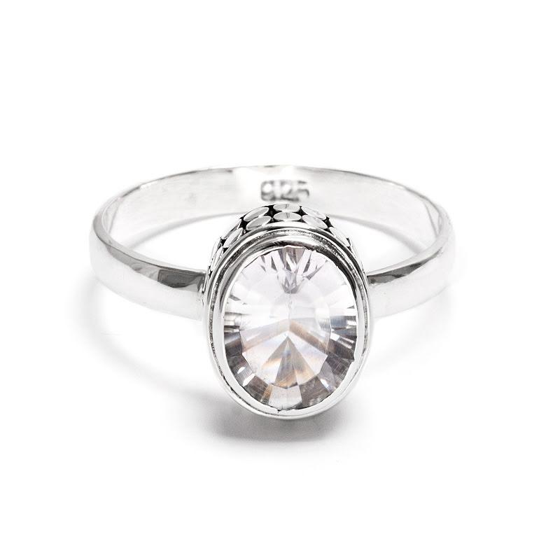 Bergkristall, fasettslipad silverring