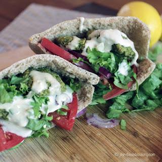 Pita Falafel Sandwich with Tahini Sauce.