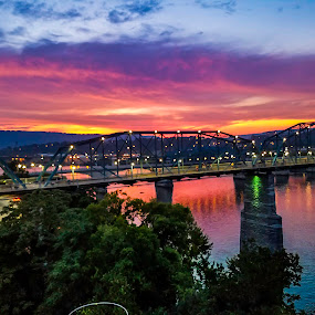 Walking Bridge in Chattanooga Tennessee  by Dan Miller - Novices Only Landscapes ( water, reflection, strong forground, tree, sunsets, sunset, bridge,  )