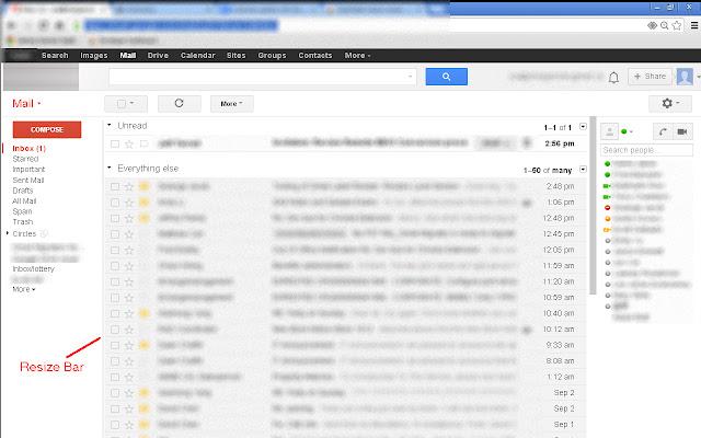 Gmail label column resizer