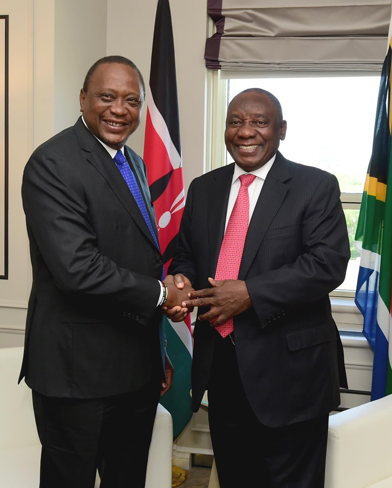 President Cyril Ramaphosa and Kenyan President Uhuru Kenyatta meet at the G-7 summit in Quebec, Canada, June 10 2018. Picture: GCIS