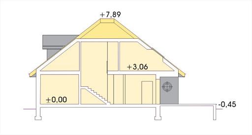 Aksamit wersja A z podwójnym garażem - Przekrój