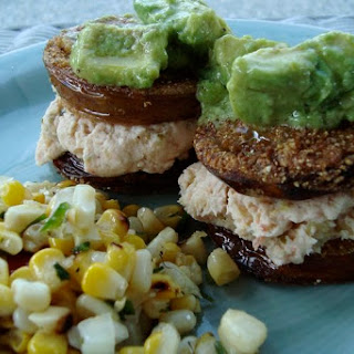 Fried Green Tomato Sandwiches with a Shrimp Spread Filling.