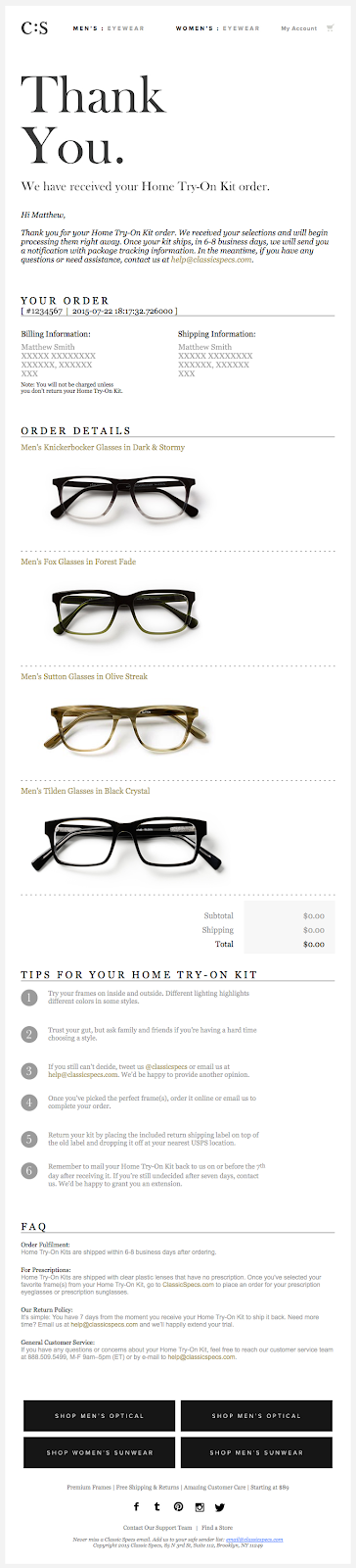 Classic Specs email example