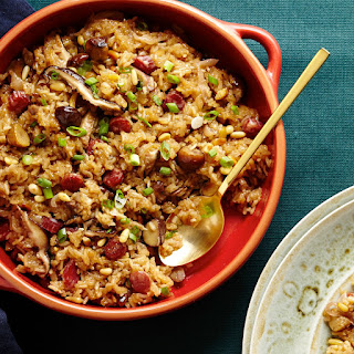 Sticky Rice Stuffing with Chinese Sausage and Shiitakes recipe | Epicurious.com.