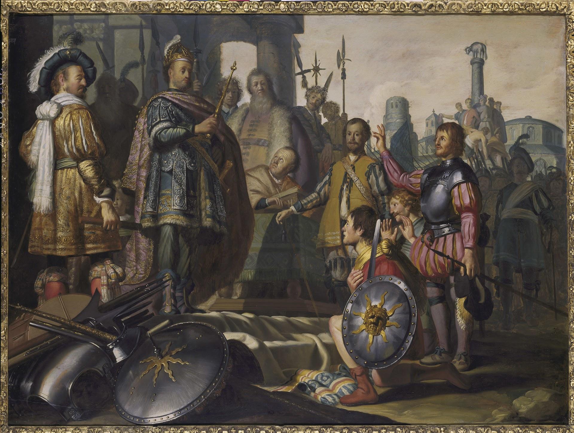 HISTORIESTUK MET ZELFPORTRET VAN DE SCHILDER
