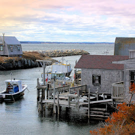 Blue Rocks, Nova Scotia by Lena Arkell - Buildings & Architecture Other Exteriors ( atlantic, ocean, canada, fishing, nova scotia, houses, blue rocks, autumn, village, boat )