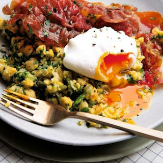 Smashed Chickpeas, Crispy Prosciutto, and Poached Eggs