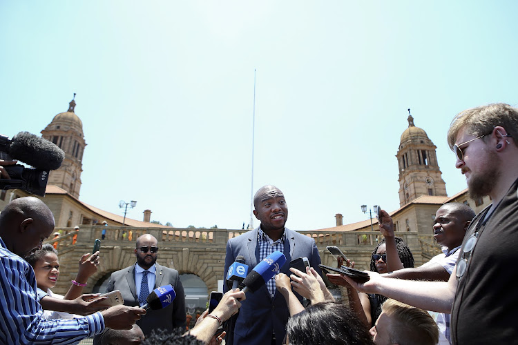 Democratic Alliance leader, Mmusi Maimane, addresses members of the media outside the Union Buildings moments after viewing President Jacob Zuma's declaration of interests in line with the provisions of the Executive Ethics Code.
