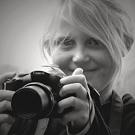 Young Photographer by Pieter J de Villiers - Black & White Portraits & People