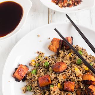Vegan Fried Quinoa with BBQ SrirachaTofu