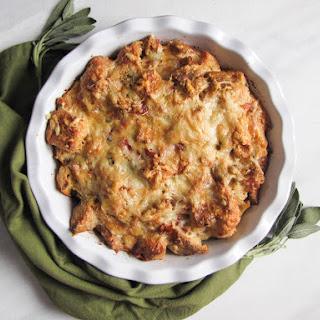 Savory Prosciutto-Sage-Gruyere Bread Pudding.