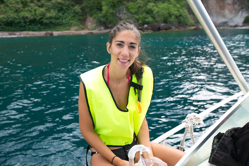 caterina-in-snorkel-gear.jpg - Catarina Amorim, a certified open water lifeguard for Wind Surf, in snorkeling gear on Dominica.