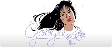 Mujer con cabello oscuro y flequillo, aretes de aro y lápiz labial rojo. 'Google' escrito debajo con letra cursiva púrpura.
