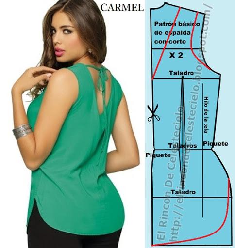 Patrón básico espalda de blusa con corte en el centro (Método actualizado)