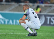 Kaizer Chiefs captain and goalkeeper Itumeleng Khune looks dejected after the 1-1 Absa Premiership match against Baroka FC at Peter Mokaba Stadium on August 14, 2018 in Polokwane, South Africa.