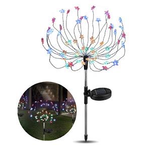 Lampa solara artificii cu suport metalic, 90 LED, multicolor
