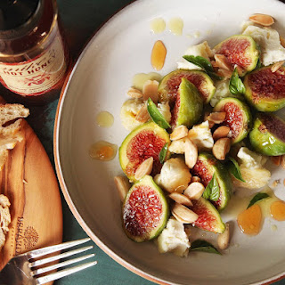 Figs With Marcona Almonds, Aged Goat Cheese, and Hot Honey.