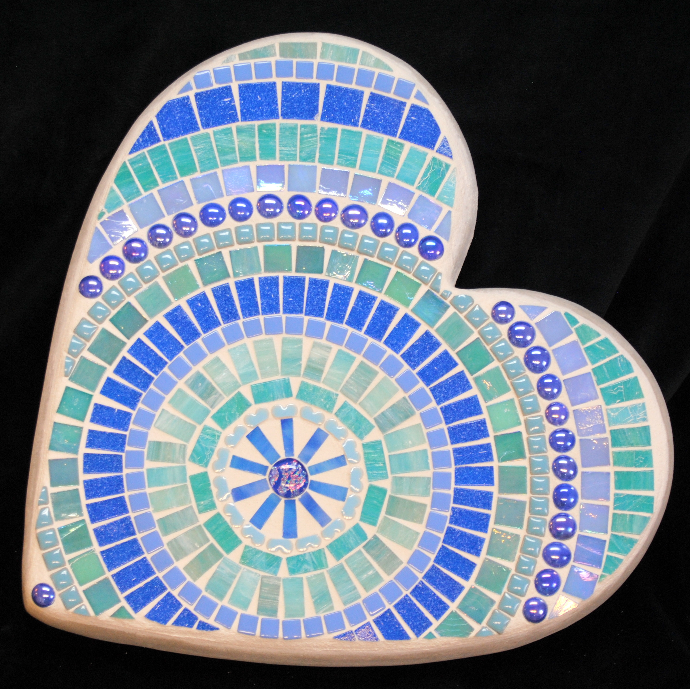 Calm SeasLarge Heart Mosaic Stepping Stone by Brenda Pokorny