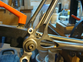 Photo: I also ground down the dropout tabs so that I'll have less to grind after the frame is brazed.