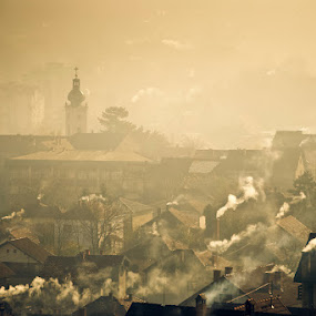 Heating season begins by Dejan Ilijic - City,  Street & Park  Vistas ( fog, autumn, roofs, chimneys )