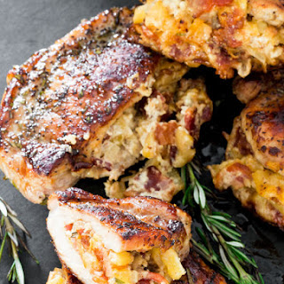Apple Bacon and Blue Cheese Stuffed Pork Chops Recipe