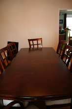 """Photo: $800 Klint Cherry Formal Dining Room Table (6' 11"""") w/ 8 chairs (2 arm chairs, 6 side chairs) includes ¾"""" protective pad - Original Price: $1178($979.86-table & chairs+$197.99-protective pad)"""