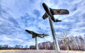 Photo: For the theme Planes, trains & automobiles the given target is some aeroplanes if you live in Linköping. This is the home of the Swedish aeroplane manufacturer Saab. Around the city there are in total 9 planes that have been put on display like this. These two are the Saab 29 Tunnan (The barrel :-) to the right and Saab 32 Lansen to the left.  Since I was out shopping for lenses yesterday, this one is shot with my new wide lens. Looking forward to more creativity with that one!  For #2012PROJECT52 by +Giuseppe Basile and +Kate Church and #skysunday by +Simone Linke.