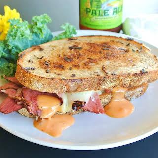 Tasty Reuben Pastrami on Rye Bread Sandwich.