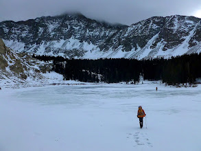 Photo: Trekking across the frozen Lake Como made for a direct approach and less wallowing in willows on the standard trail around the north side of the lake