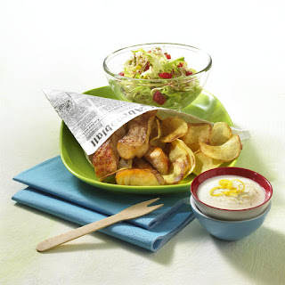 Fish and Chips with Lemon Yogurt Sauce and Salad.