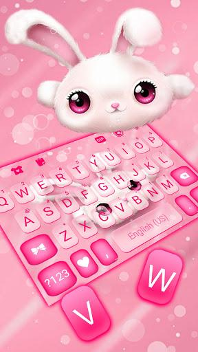 White Cute Bunny Keyboard Background screenshot 2