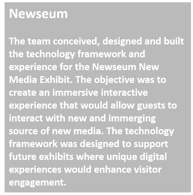 Techtrend team designed and created the New Media exhibit at the Newseum