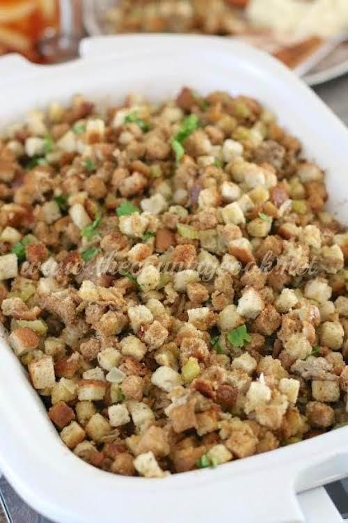 "Crock Pot Stuffing ""It's lightly seasoned with Italian seasonings and it adds..."