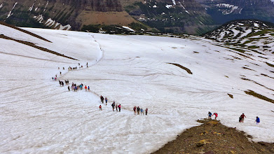 Photo: The Highline Trail was closed so there were plenty of hikers on the Hidden Lake Trail.
