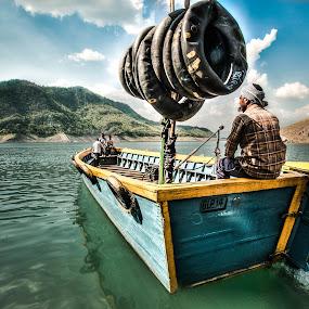 Boatman by Shikhar Sharma - Transportation Boats ( hills, wooden, boatman, motorboat, lake, boat )