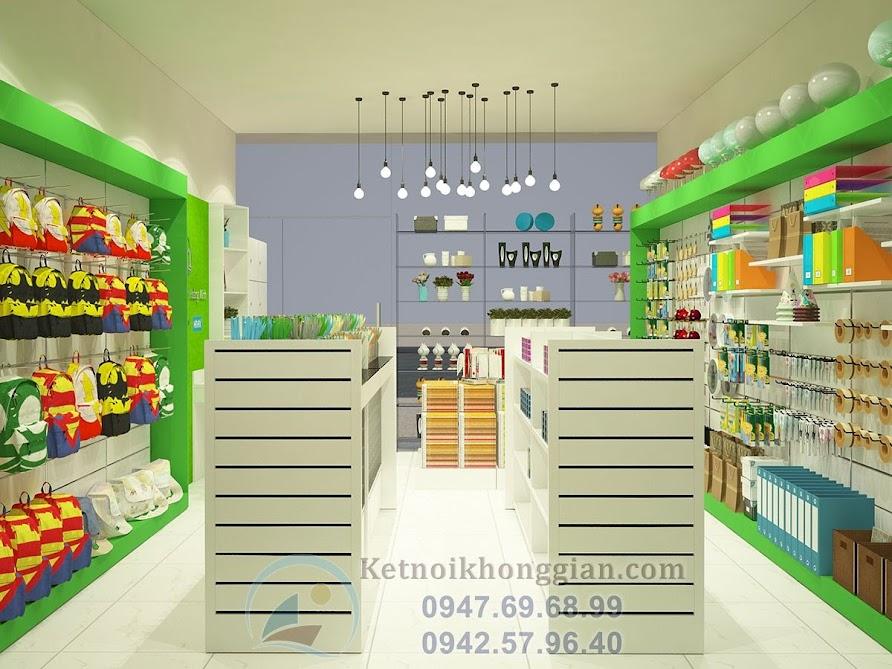 thiết kế cửa hàng văn phòng phẩm gọn gàng cuốn hút