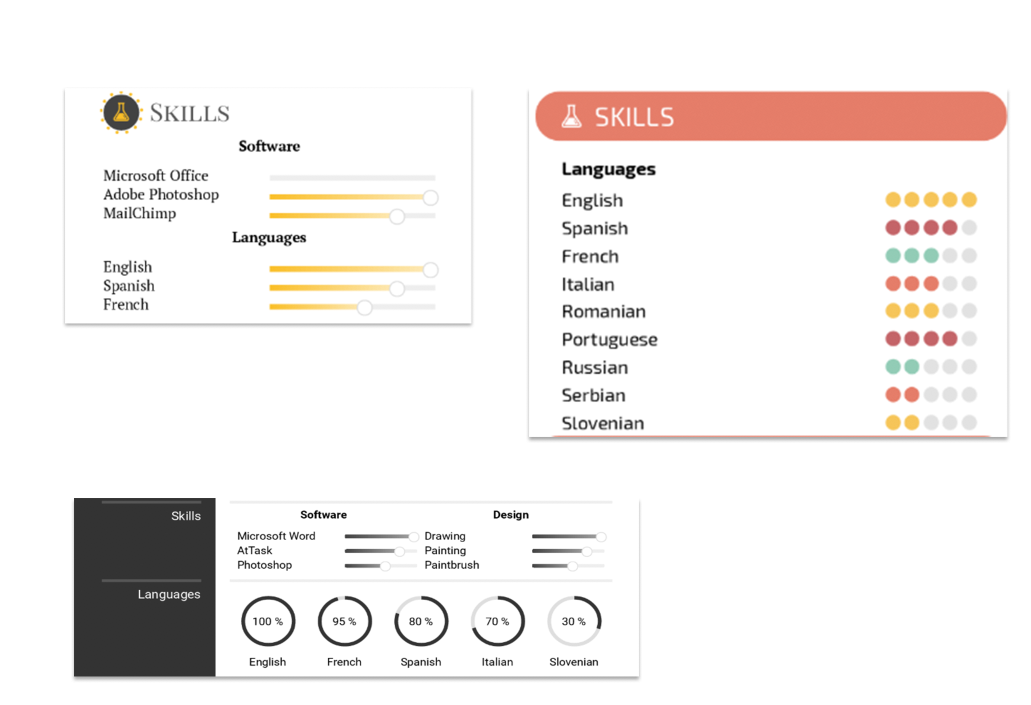 graphic design resume skill display