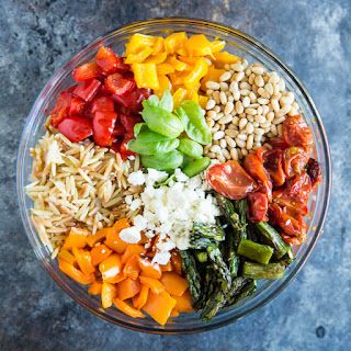 Orzo Pasta Salad with Roasted Vegetables.