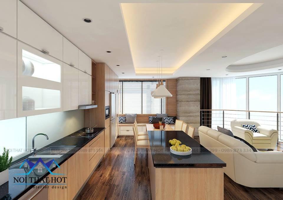 thiết kế nội thất phòng bếp chung cư, thiết kế chưng cư sáng rộng