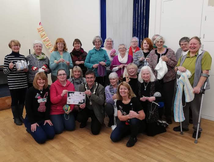 The Mayor presents Knit and Natter group with an award