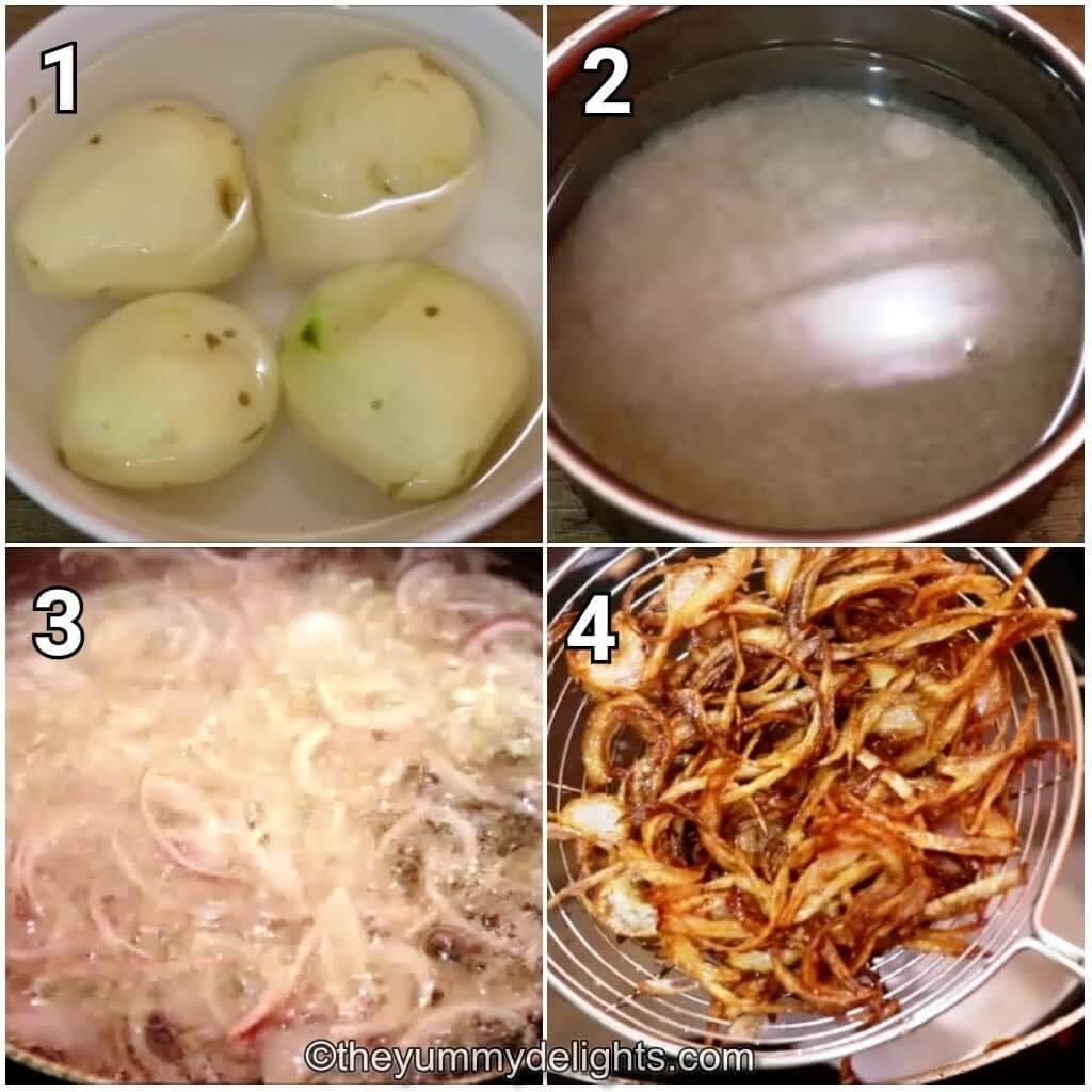 step by step image collage of cooking potatoes, soaking biryani rice, and making birista to make Kolkata biryani recipe