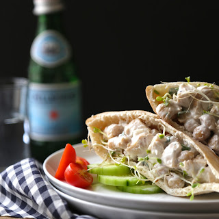 Chicken and Chickpea Salad Pita Sandwiches with Broccoli Sprouts.
