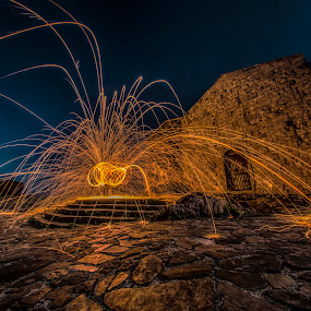 Bonaria by Stefania Loriga - Abstract Light Painting ( notte, bonaria, chiesa, lici, osilo, scintille,  )
