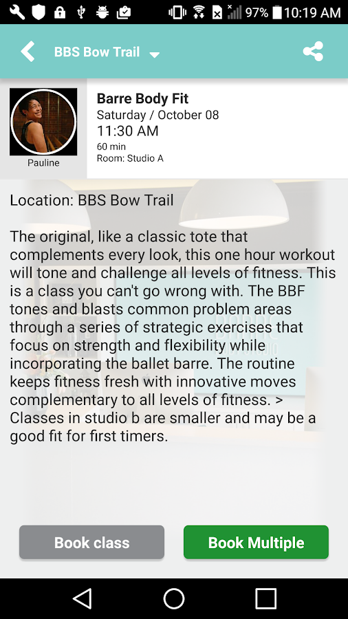 Barre Body Studio App- screenshot