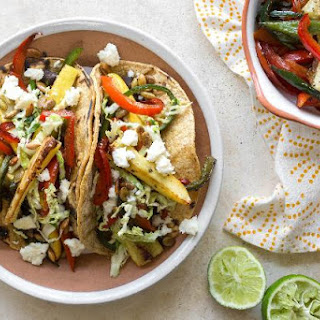 Grilled Squash And Black Bean Tacos With Cabbage Slaw